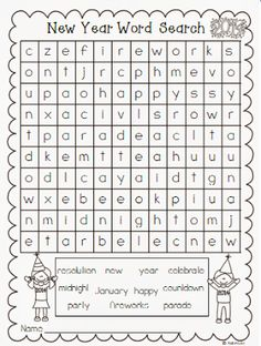 A word search full of winter words to keep students busy