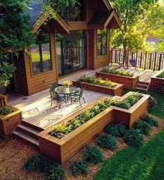 Elevated Garden Angled 145mm Balau Smooth Hardwood Decking With