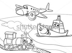 Submarine transportation coloring pages for kids