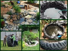 Fish Pond From Tractor Or Car Tires Gardens Old Tractors And Cars