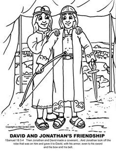 David and jonathan, David and Coloring pages on Pinterest