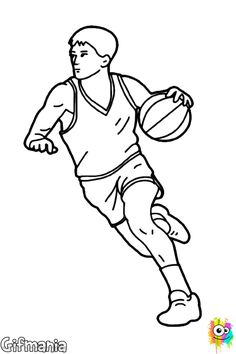 Girl Basketball Player Dribbling Ouline by SportsArtZoo