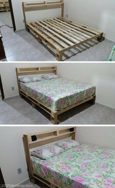 bed frame out of pallets handmade with pallets pallet ideas - Rolling Bed Frame