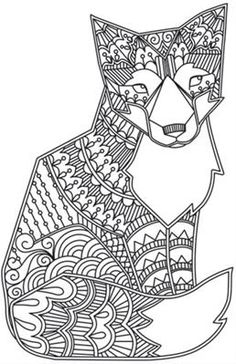 Zentangle vector happy Fox for adult anti stress coloring