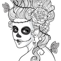 1000+ images about Sugar Skull Coloring Pages on Pinterest