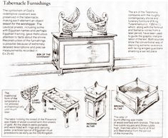 replica minature pieces of furniture from the tabernacle
