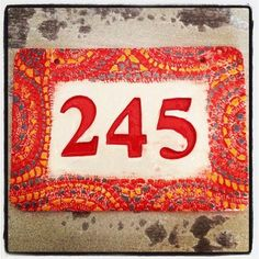 Ceramic House Number With Flowers In Red Ceramics Flower And