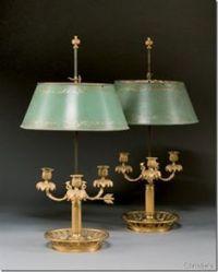 French Empire lighting bouillotte lamp bronze dore