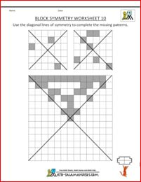 Tricky Line symmetry worksheet with 2 mirror lines on each