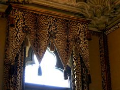 3pc Leopard Brown 2 Sheer 1 Scarf Window Curtain Valance Treatment