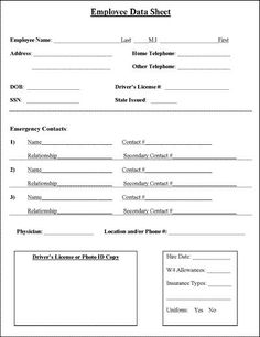 Child's emergency contact and medical information