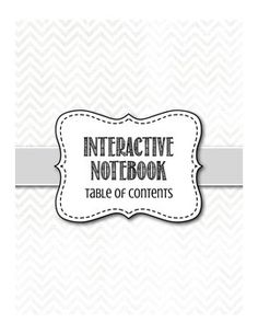 Blank template for... Table of contents, student turn in