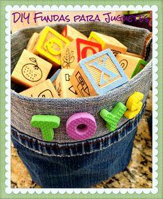 Minicestas hechas con pantalones viejos  Manualidades de tela y fieltro  Manualidades para