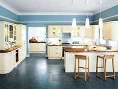 Cream Kitchen Cabinets With Blue Walls My Web Value