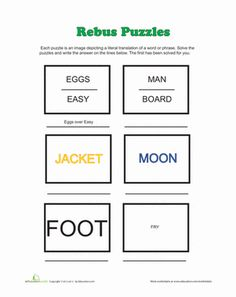Here is a printable set of rebus puzzles. The answers are