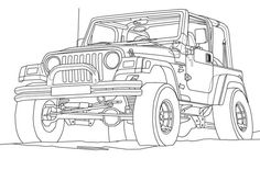 Square-shouldered Cherokee for the Jeep Coloring Book