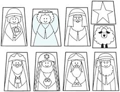 Printable finger puppet Christmas Nativity Set in Color or