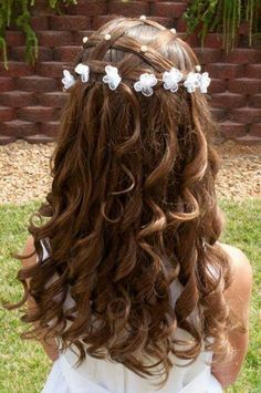 First Communion Hairstyles Long Hair Peinados Nenas Pinterest