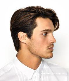 Lässiger Hairstyle Mit Gel Männer Haarschnitte Mit Seitenscheitel