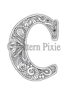 Colouring pages, Alphabet letters and Adult colouring