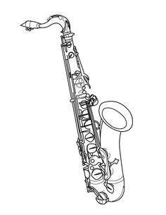 Printable trumpet coloring page. Free PDF download at http
