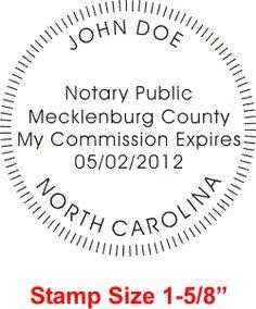 North Carolina Notary Rectangular Stamp Impression (With
