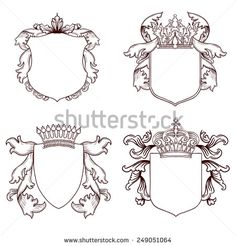 Black And White Eagle With Wings Spread Under Crown And