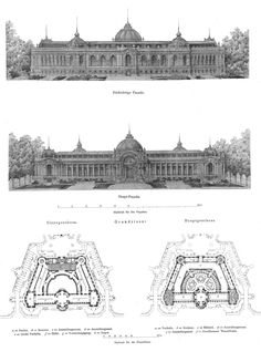 Plans and elevation of the British Museum and British