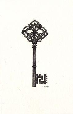 Key drawings, Drawing tattoos and Skeleton keys on Pinterest