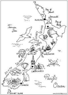1950s Antique Vintage NEW ZEALAND animals map original b/w
