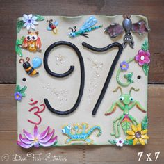 Nautical And Nice House Number Tile With Anchors And Rope