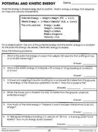 Potential And Kinetic Energy Worksheet Answers   science ...