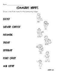 Fill in the Blanks Worksheet about Community Helpers