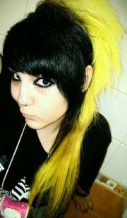 black and yellow scene emo hair