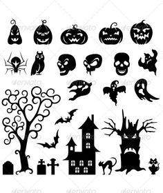 Vector set of Halloween silhouette pumpkin, bat, cat, an