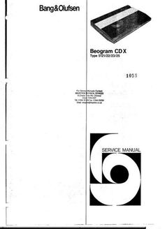 Bang & Olufsen Beomaster 1900 & 1900-2 , Service Manual