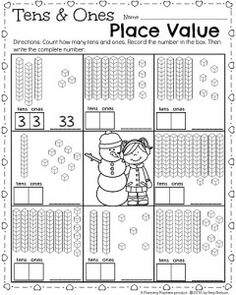 Ten and ones mat countes n worksheet winter theme envision