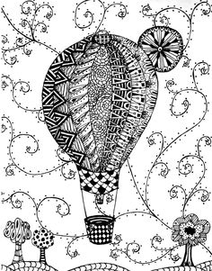 1000+ images about Adult Colouring~Hot Air Balloons on