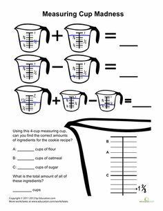 Printables. Cooking Measurements Worksheet