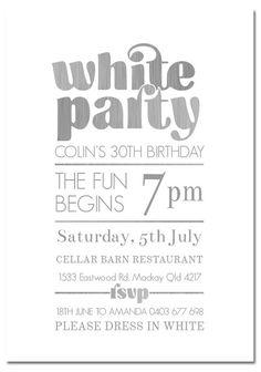 All White Party Invitation, White Party Invitation, Summer