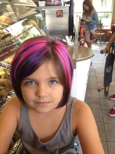 bright pink hair color kid with swag