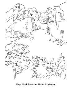 Printable Mount Rushmore coloring page. Free PDF download