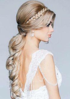 Schöne Frisuren Brautfrisuren Für Langes Haar Mit Zopf Und Locken