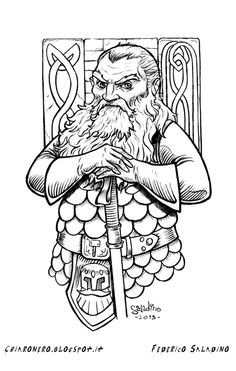 How to draw a cleric dwarf with holy war hammer. Priest