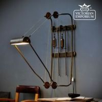 DIY Kit for Antique Cast Iron & Wood Pulley Lamp - Vintage ...