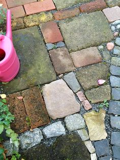Spray Painted Faux Stones On Concrete Patio Fun With Beachy Colors