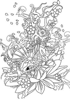 Free koi pond with lillies adult coloring book image from