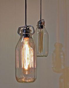 Old Fashioned Vintage Milke Bottle Pendant Light