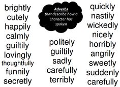 Here's a short list of common adverbs. Make sure you print