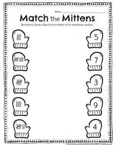 Free Mitten Math Numbers To 10 Worksheet. Students count